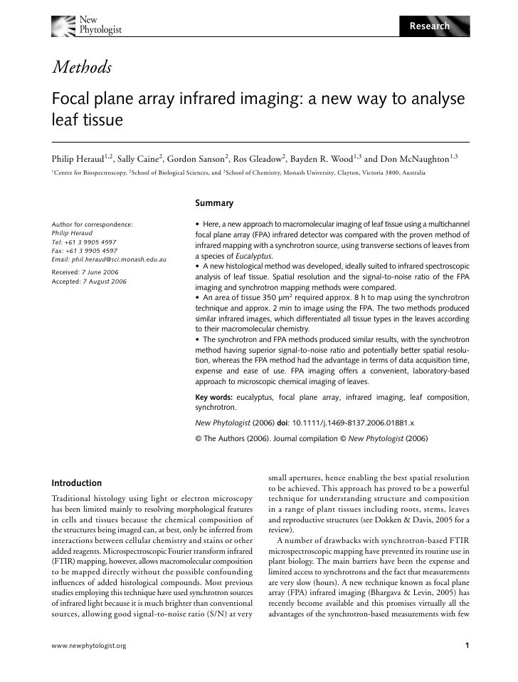 Research    Methods Blackwell Publishing Ltd     Focal plane array infrared imaging: a new way to analyse leaf tissue  Phi...