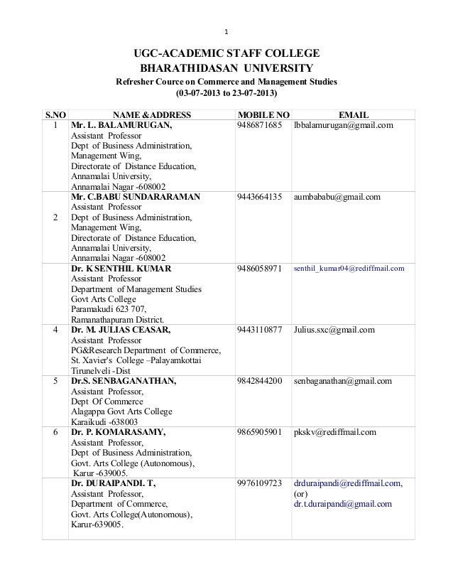 1 UGC-ACADEMIC STAFF COLLEGE BHARATHIDASAN UNIVERSITY Refresher Cource on Commerce and Management Studies (03-07-2013 to 2...