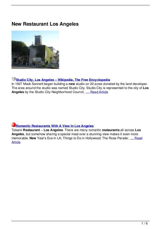 New Restaurant Los Angeles   Studio City, Los Angeles – Wikipedia, The Free EncyclopediaIn 1927 Mack Sennett began buildin...