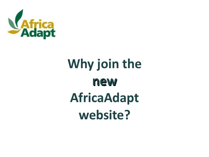 Why join the  new  AfricaAdapt website?