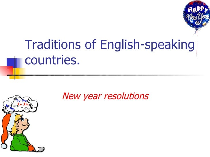 Traditions of English-speaking countries. New year resolutions