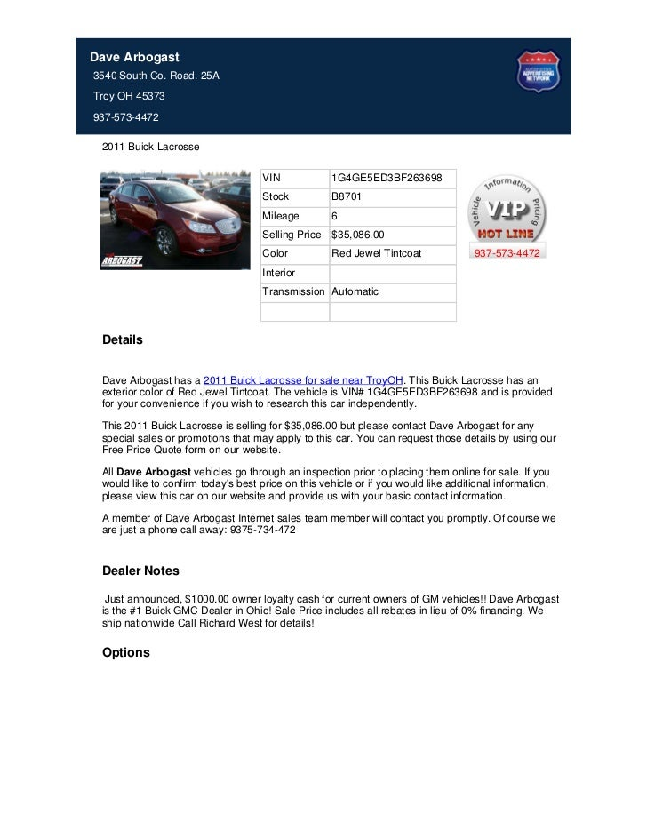 New_2011_Buick_Lacrosse_For_Sale_Near_Dayton_OH_-_Stock%23_B8701