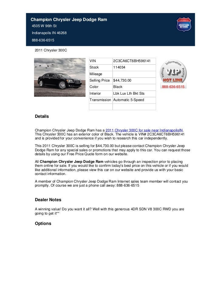 New_2011_Chrysler_300c_For_Sale_Near_Zionsville_IN_