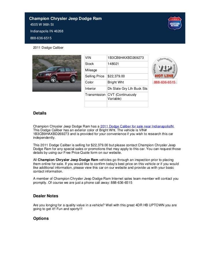 New_2011_Dodge_Caliber_For_Sale_Near_Carmel_IN_