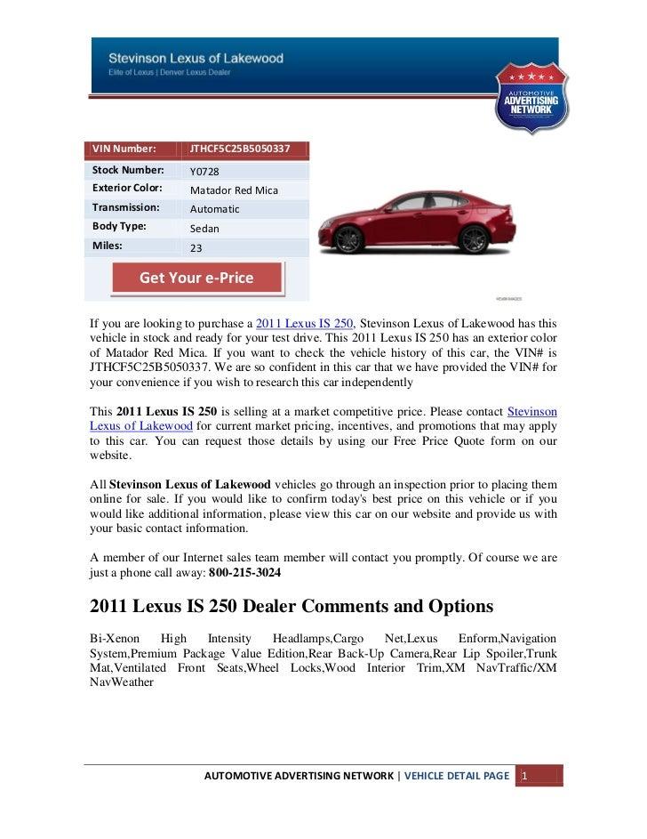 New 2011 Lexus IS 250 For Sale Near Littleton CO