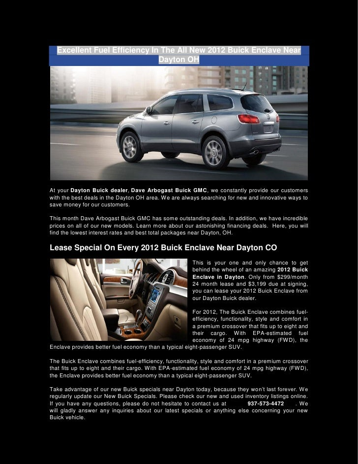 Excellent Fuel Efficiency In The All New 2012 Buick Enclave Near                              Dayton OHAt your Dayton Buic...