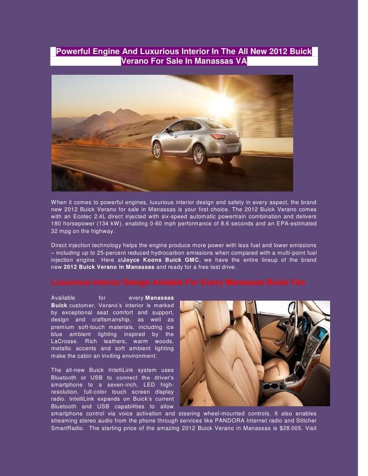 New 2012 buick verano for sale in manassas va