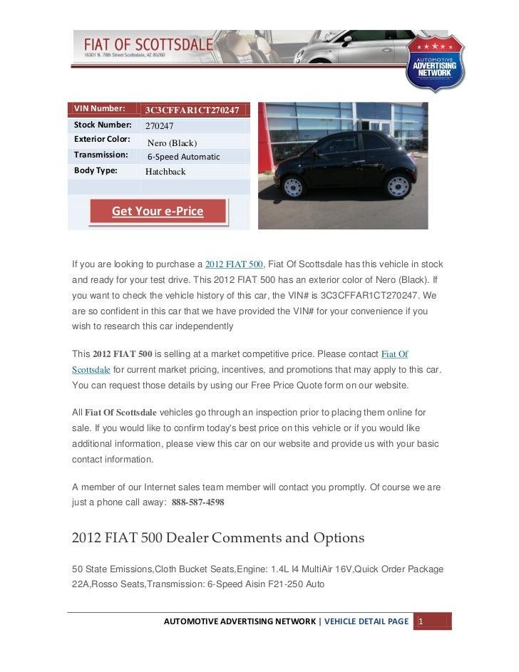 New 2012 Fiat 500 for Sale near Phoenix az