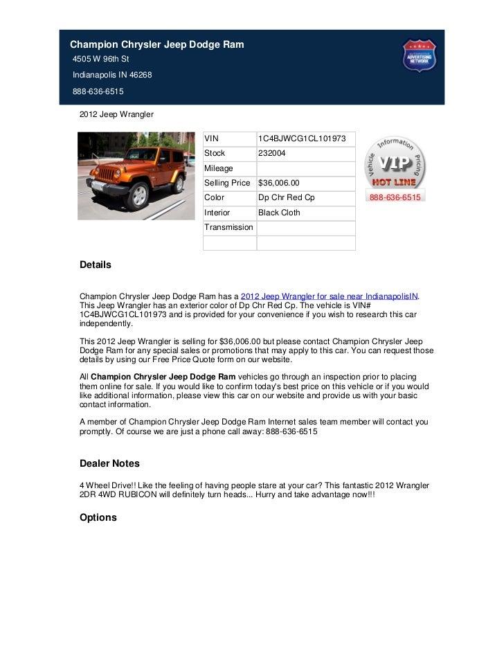 New_2012_Jeep_Wrangler_For_Sale_Near_Westfield_IN