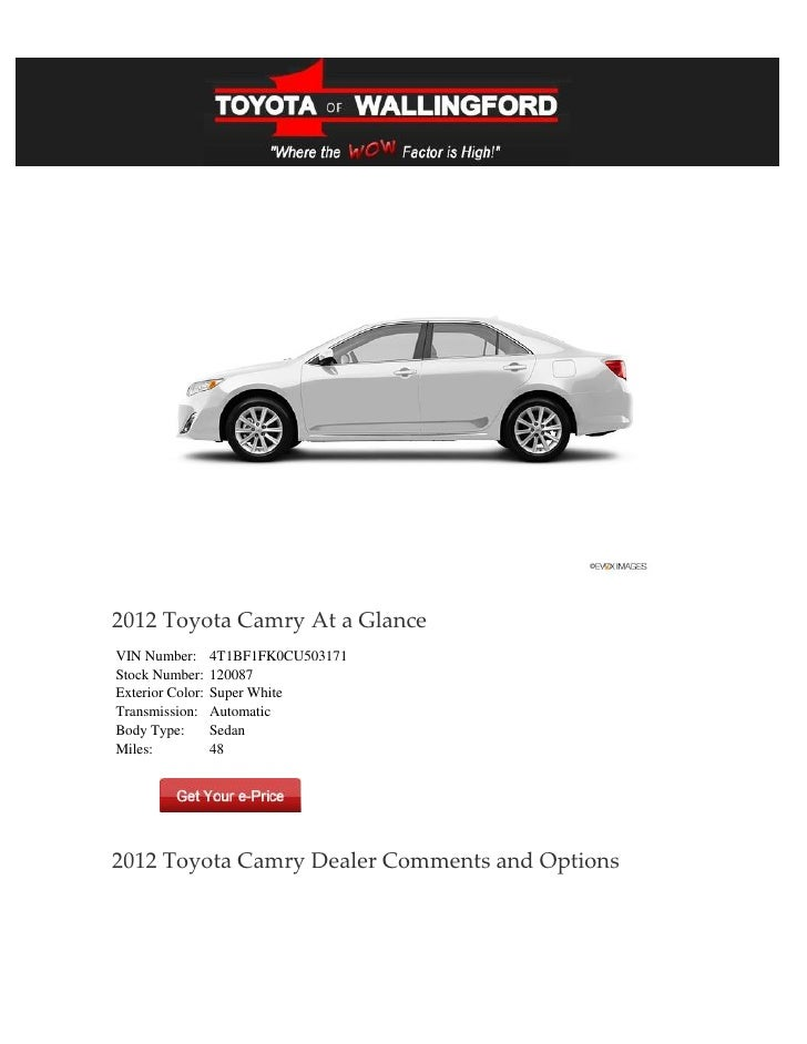 2012 Toyota Camry At a GlanceVIN Number:       4T1BF1FK0CU503171Stock Number:     120087Exterior Color:   Super WhiteTrans...