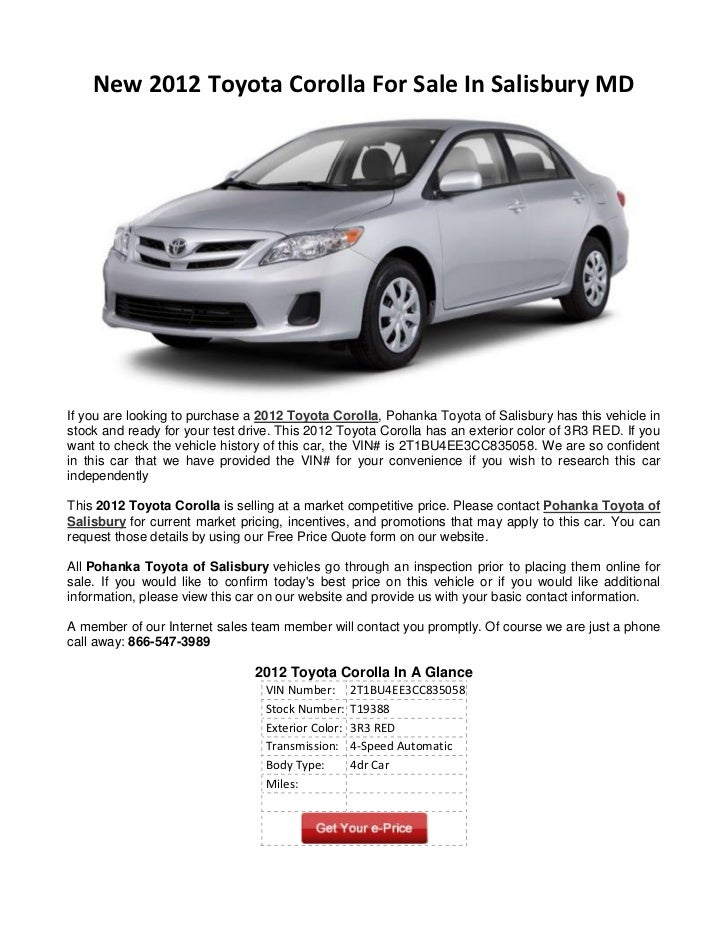 new 2012 toyota corolla for sale in salisbury md. Black Bedroom Furniture Sets. Home Design Ideas