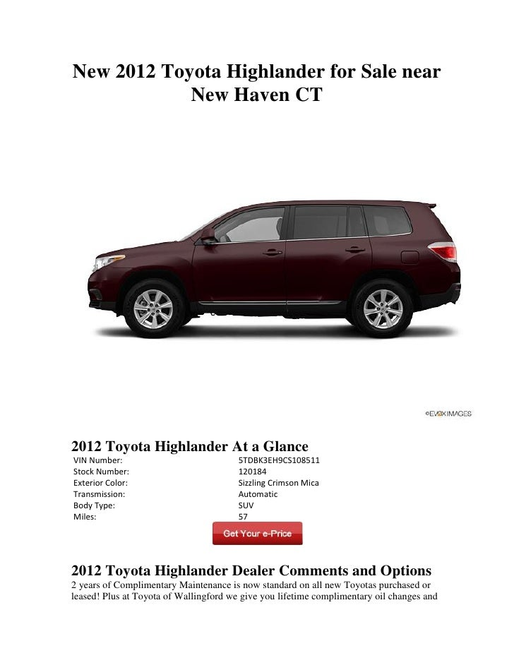 New 2012 Toyota Highlander for Sale near New Haven CT