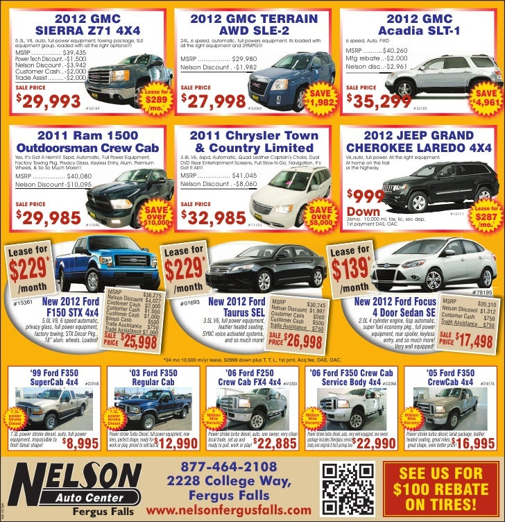 New 2012 vehicle specials at fargo car dealership  nelson auto center