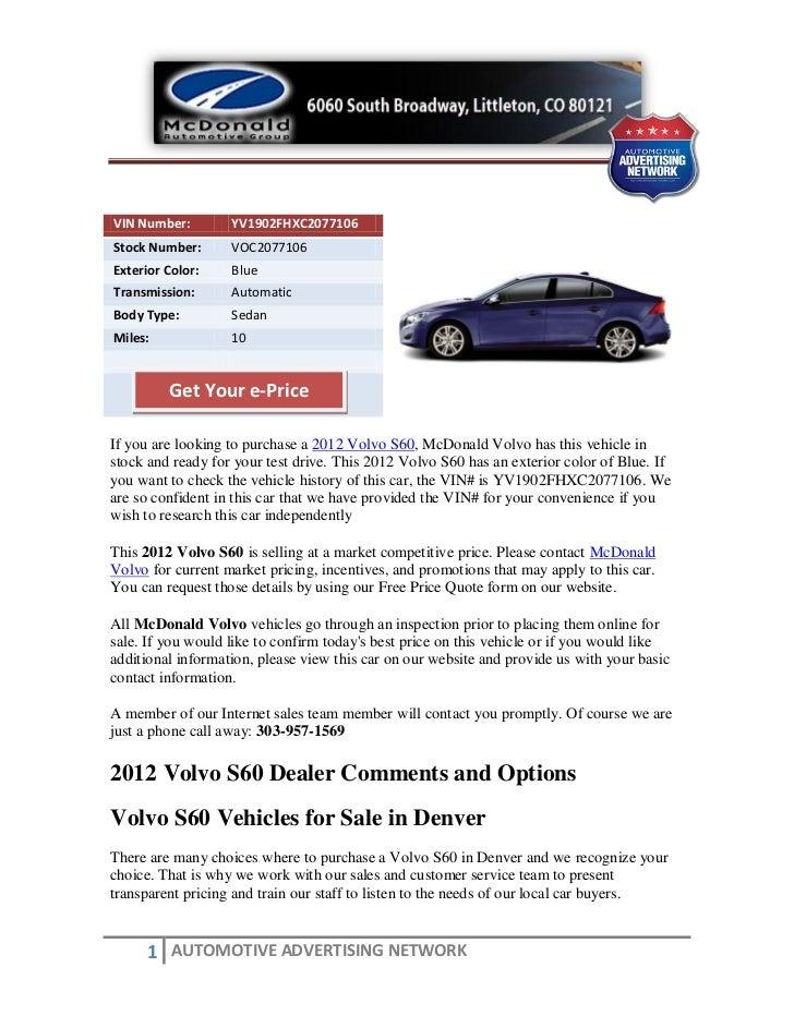 New 2012 volvo s60 for sale near denver co