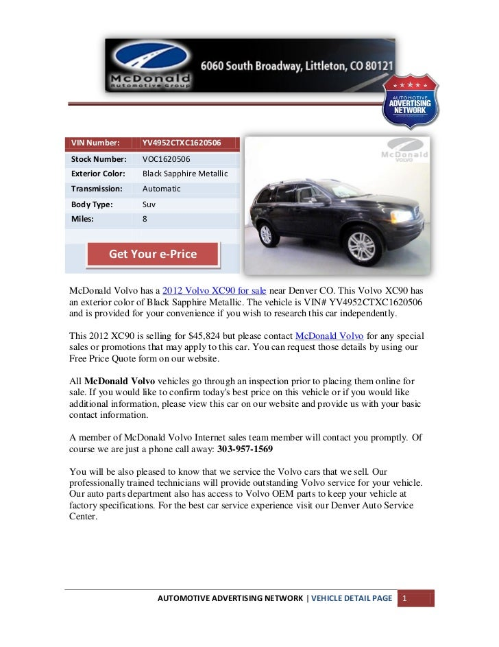 New 2012 volvo xc90 for sale near denver
