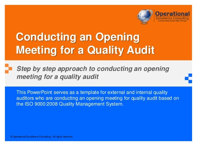 Conducting an Opening Meeting for a Quality Audit
