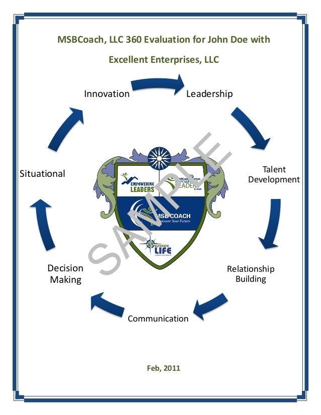 MSBCoach, LLC 360 Evaluation for John Doe with                      Excellent Enterprises, LLC                 Innovation ...