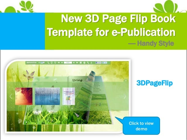 New 3D page flip book template for ePublication