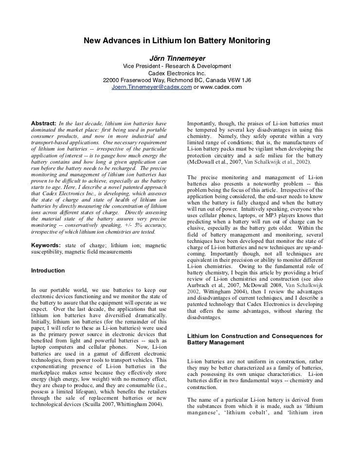 New Advances in Lithium Ion Battery Monitoring                                                    Jörn Tinnemeyer         ...