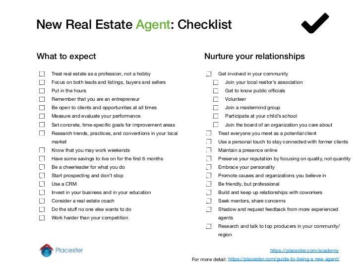 new real estate agent checklist. Black Bedroom Furniture Sets. Home Design Ideas