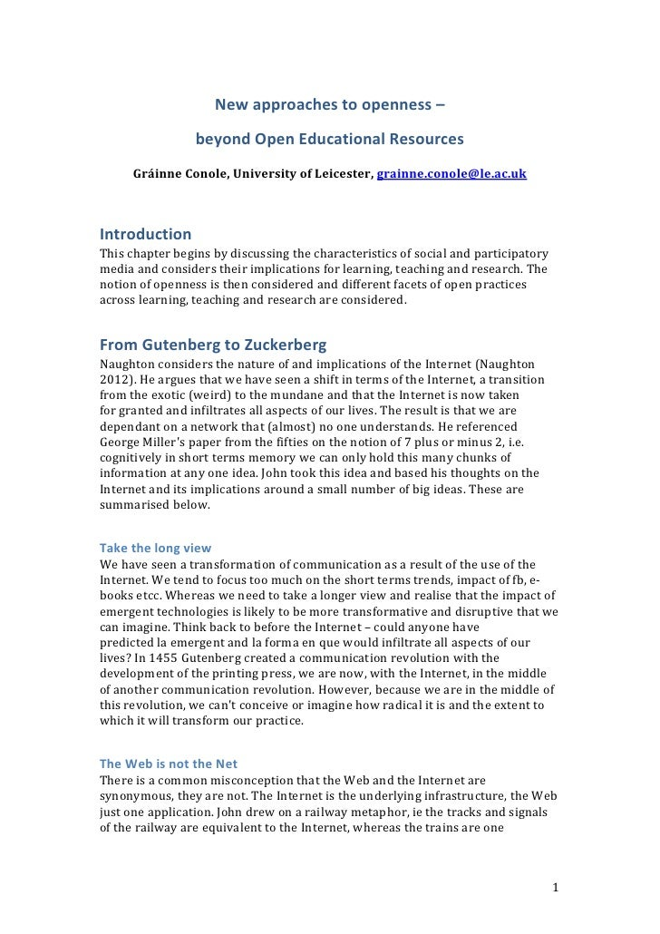 New approaches to openness –                 beyond Open Educational Resources      Gráinne Conole, University of Leiceste...