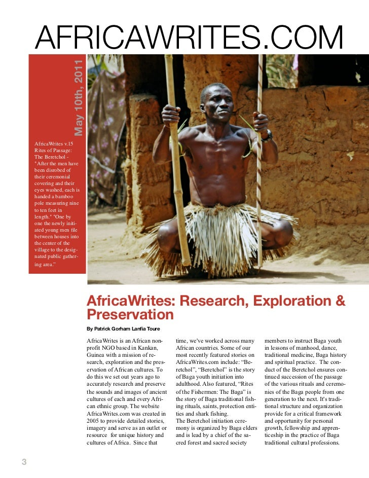"AFRICAWRITES.COM                     May 10th, 2011    AfricaWrites v.15    Rites of Passage:    The Beretchol -    ""After..."