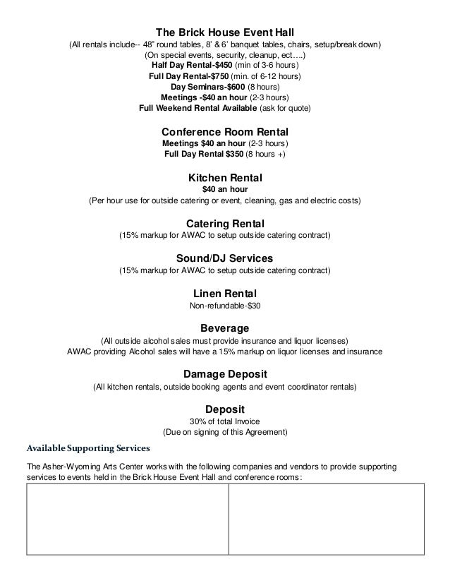 Perfect Banquet Contract Template Crest Example Resume