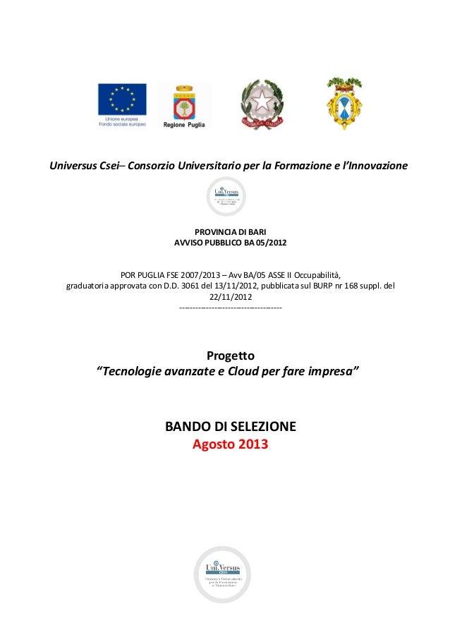 Universus Csei– Consorzio Universitario per la Formazione e l'Innovazione PROVINCIA DI BARI AVVISO PUBBLICO BA 05/2012 POR...