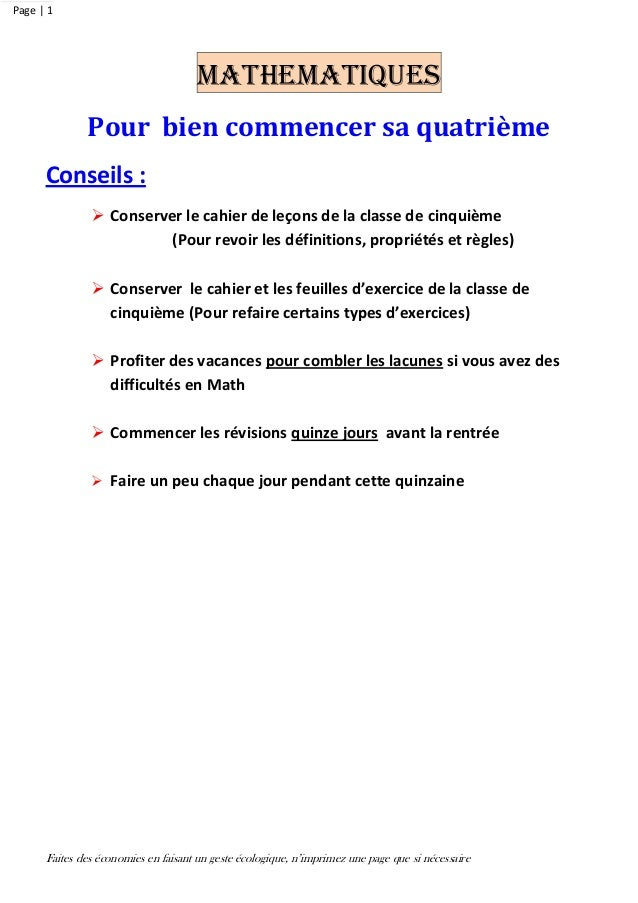 Faites des économies en faisant un geste écologique, n'imprimez une page que si nécessaire Page | 1 MATHEMATIQUES Pour bie...