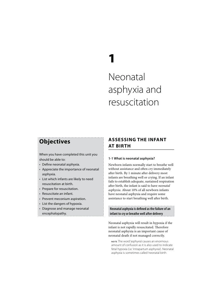 Newborn Care: Neonatal asphyxia and resuscitation