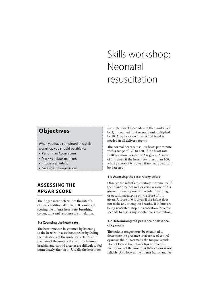 Newborn Care: Skills workshop Neonatal resuscitation
