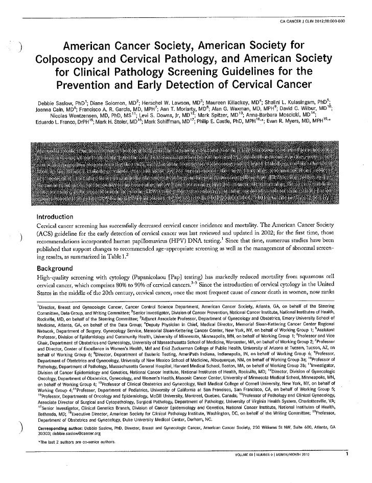 New cervical screening guidelines. 2