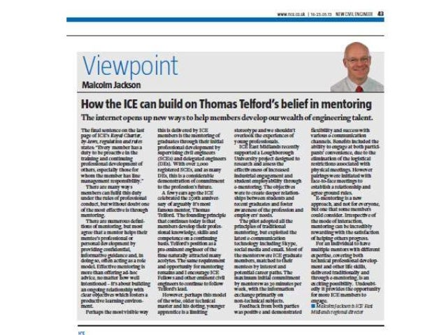 New Civil Engineering Viewpoint (about our e-mentoring project)