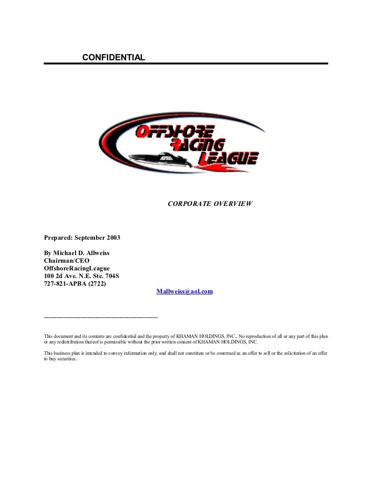 APBA Offshore Racing League Business Plan 9.13.03