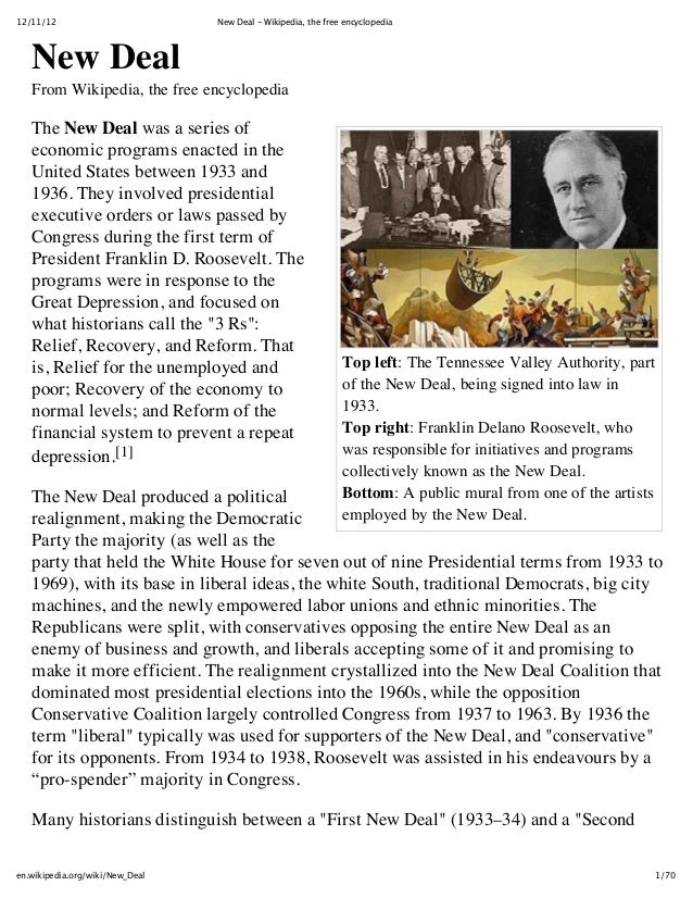 12/11/12                         New Deal ‑ Wikipedia, the free encyclopedia   New Deal   From Wikipedia, the free encyclo...