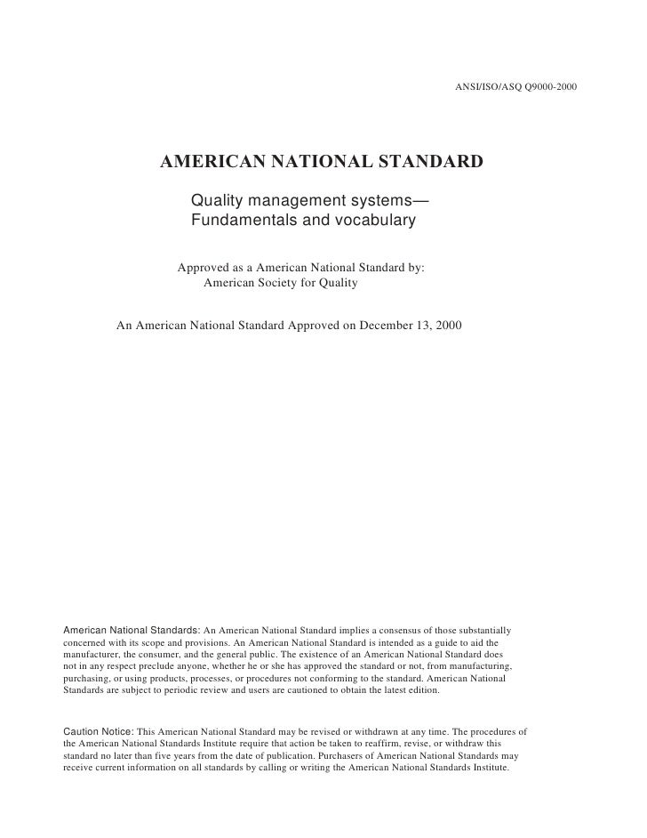 ANSI/ISO/ASQ Q9000-2000<br />AMERICAN NATIONAL STANDARD<br />Quality management systems—<br />Fundamentals and vocabulary<...