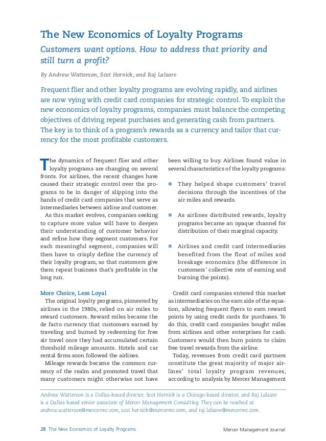 Mercer Management Journal28 The New Economics of Loyalty ProgramsThe dynamics of frequent flier and otherloyalty programs ...