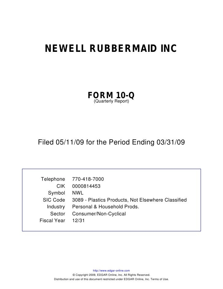 Q1 2009 Earning Report of Newell Rubbermaid Inc.
