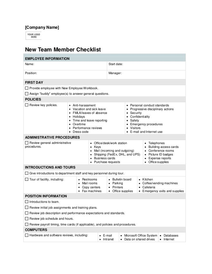 FORMTEXT [Company Name] <br />New Team Member Checklist<br />EMPLOYEE INFORMATIONName:  FORMTEXT      Start date:  FORMTE...