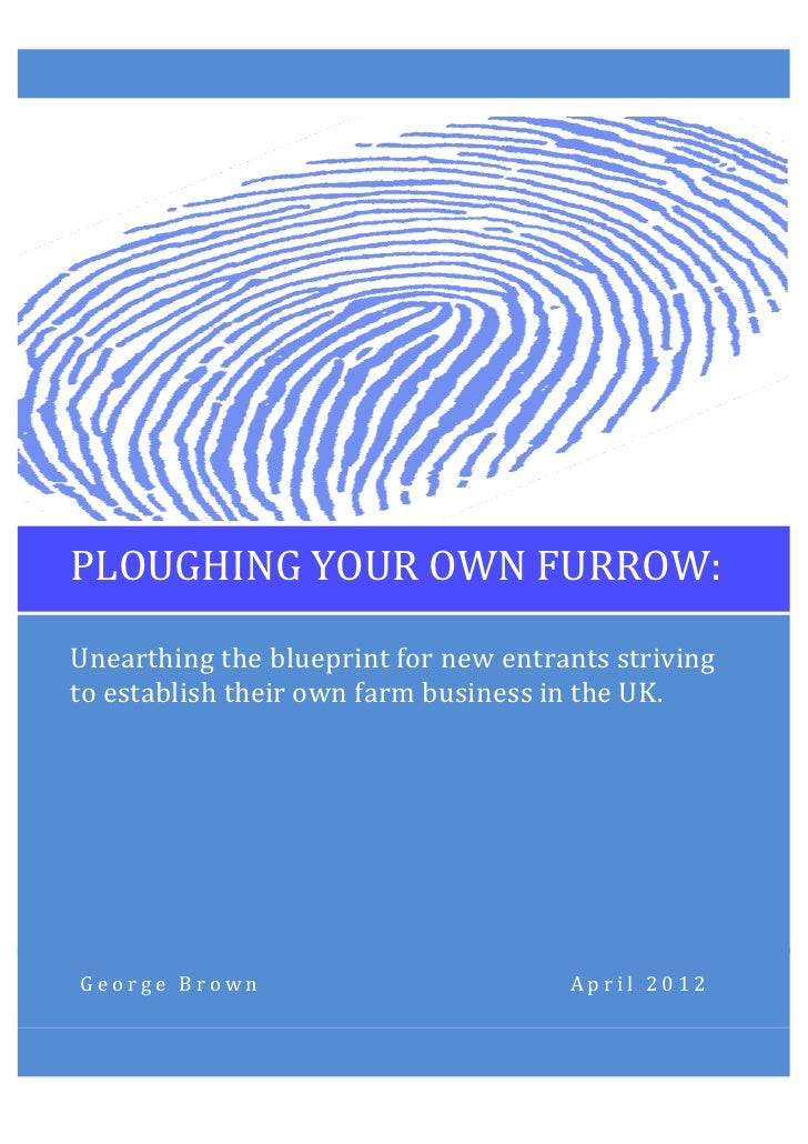 PLOUGHING	  YOUR	  OWN	  FURROW:	         Unearthing	  the	  blueprint	  for	  new	  entrants	  striving	       ...