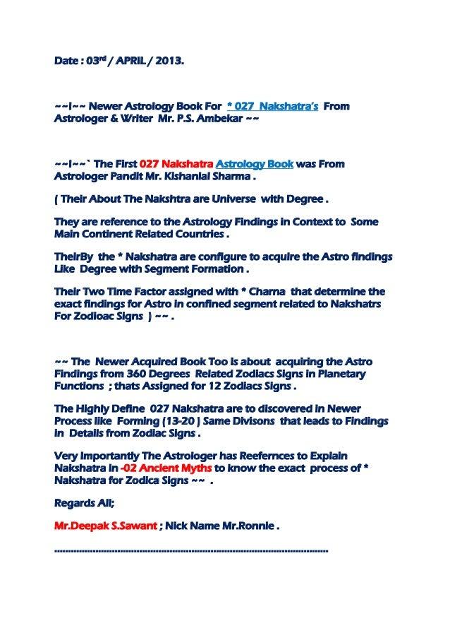 Date : 03rd / APRIL / 2013. ~~!~~ Newer Astrology Book For * 027 Nakshatra's From Astrologer & Writer Mr. P.S. Ambekar ~~ ...