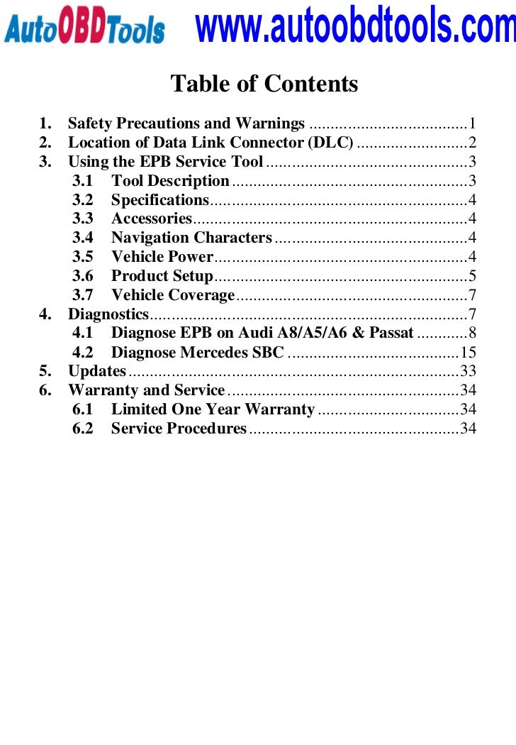 www.autoobdtools.com                          Table of Contents1.   Safety Precautions and Warnings .........................