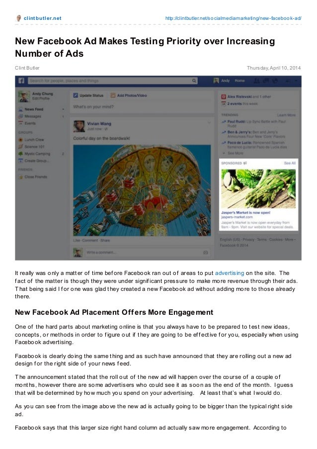 clint but ler.net http://clintbutler.net/socialmediamarketing/new-facebook-ad/ Clint Butler Thursday,April 10, 2014 New Fa...