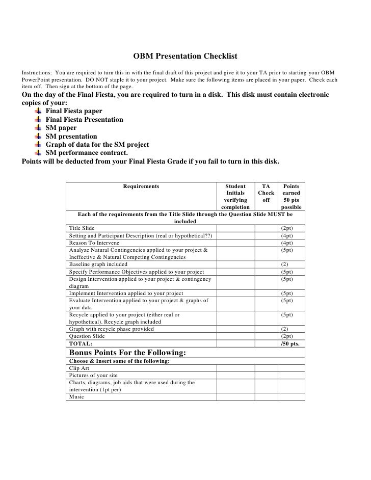 Final Fiesta Checklist