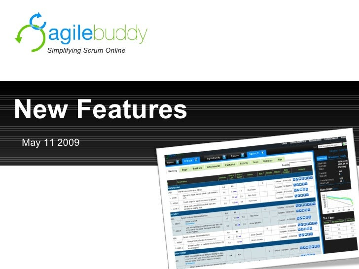 New Features Simplifying Scrum Online May 11 2009
