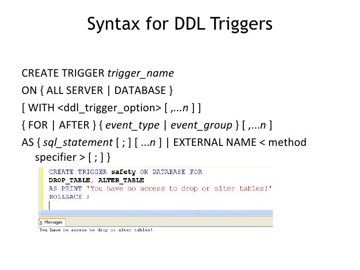 Image result for trigger syntax in sql