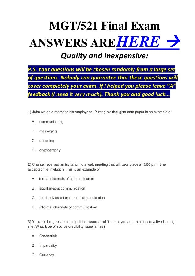 mgt 521 final exam answers