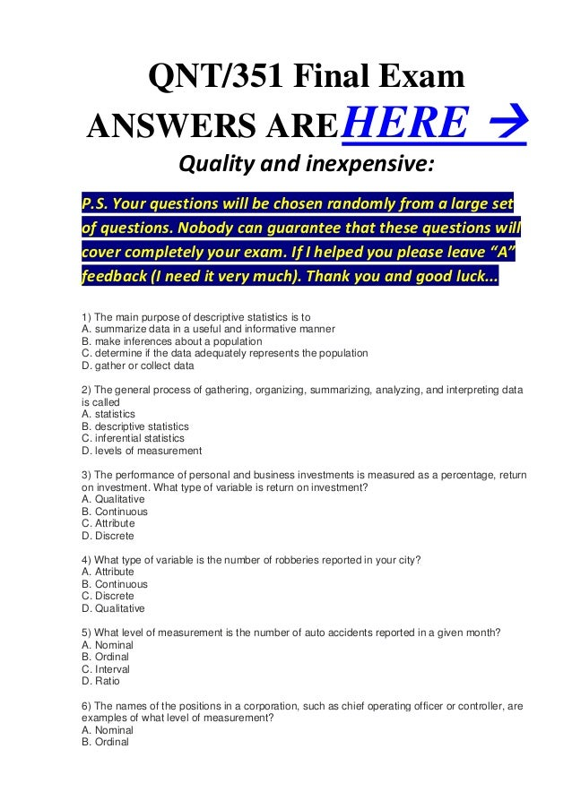QNT/351 Final ExamANSWERS ARE HERE                                                                                       ...