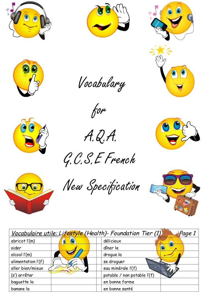 Vocabulary                               for                         A.Q.A.                     G.C.S.E French            ...