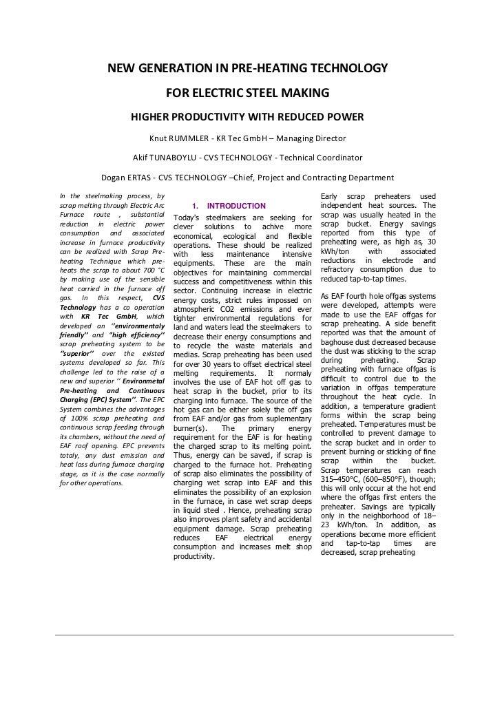 NEWGENERATIONINPRE‐HEATINGTECHNOLOGY                                       FORELECTRICSTEELMAKING               ...